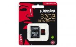 Karta pamięci Kingston microSDHC Canvas React 32GB Class 10 UHS-I U3 + adapter