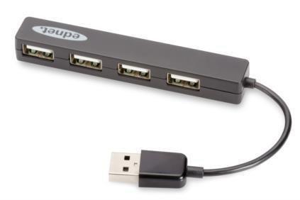 "Hub USB Ednet 4xUSB 2.0 ""Mini"", pasywny, czarny"
