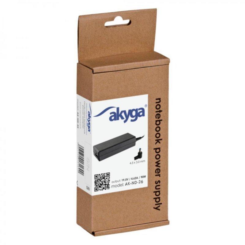 Zasilacz sieciowy Akyga AK-ND-26 do notebooka 19,5V/4,62A 90W 4.5x3.0mm + pin
