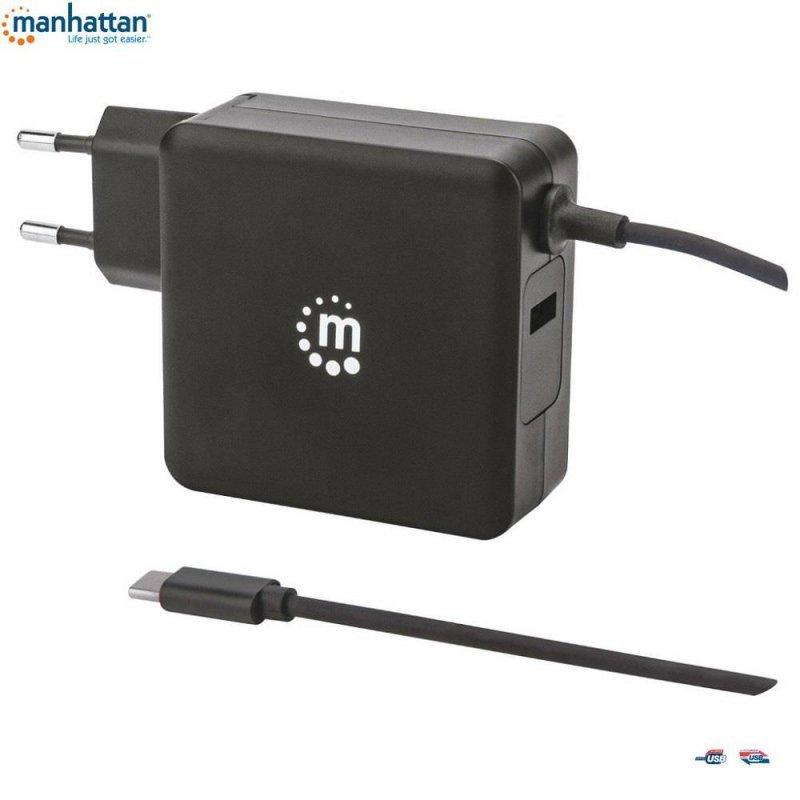 Zasilacz sieciowy Manhattan Power Delivery 230V USB-C, 60W USB-A 5V, czarny