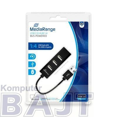 Hub USB MediaRange MRCS502 4xUSB 2.0 Black