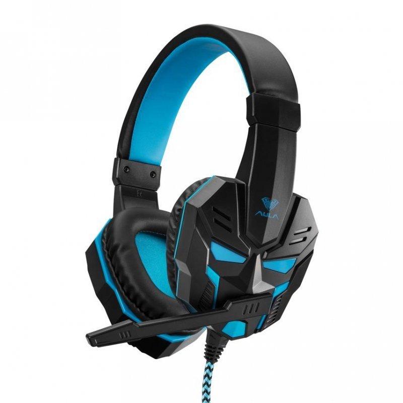 Słuchawki z mikrofonem dla graczy Aula Prime Basic Gaming czarno-niebieskie