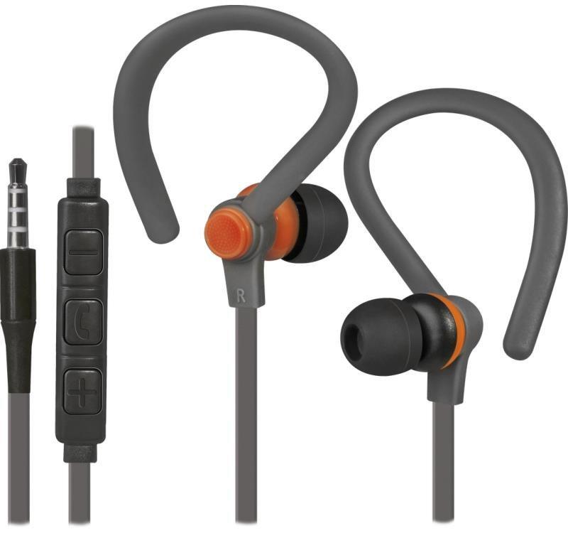 Słuchawki z mikrofonem Defender OUTFIT W760 SPORT douszne szaro-pomarańczowe