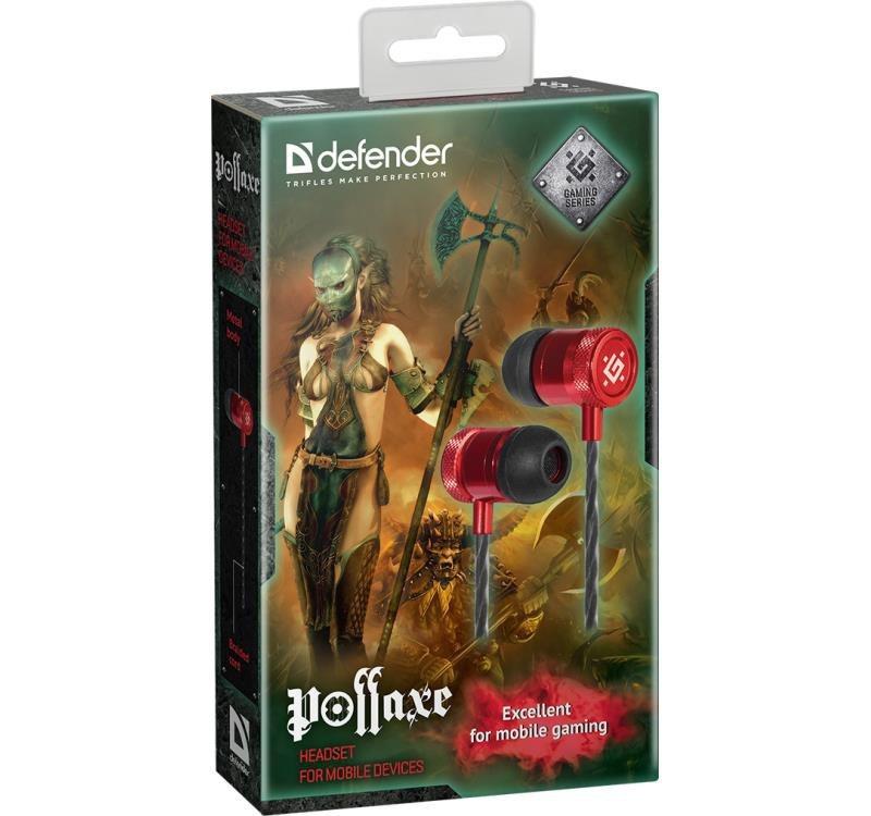 Słuchawki z mikrofonem Defender POLLAXE douszne gaming czarno-czerwone