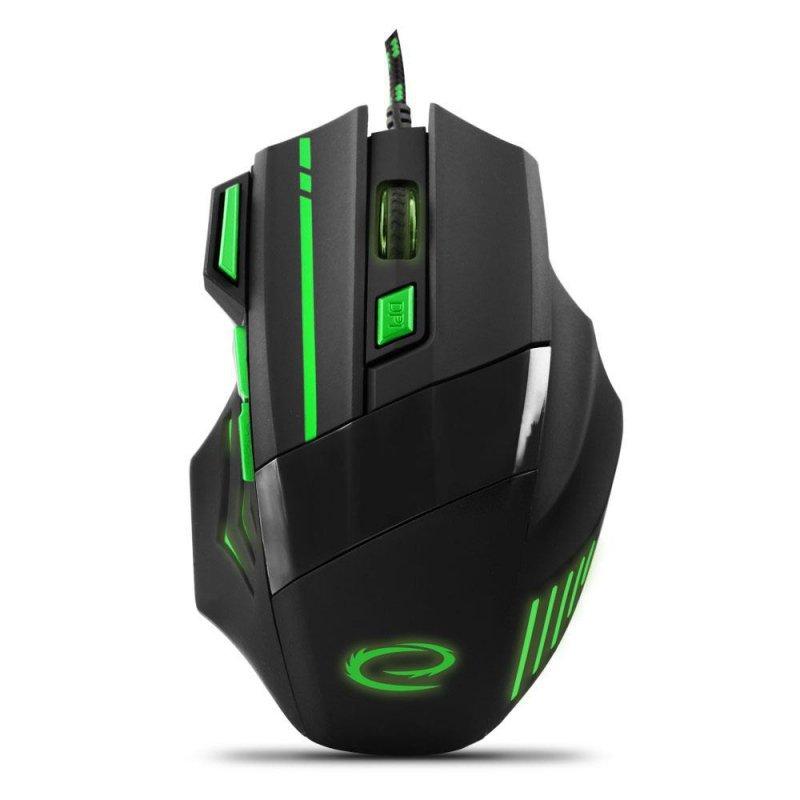 Mysz przewodowa Esperanza MX201 Wolf optyczna Gaming 7D USB czarno-zielona
