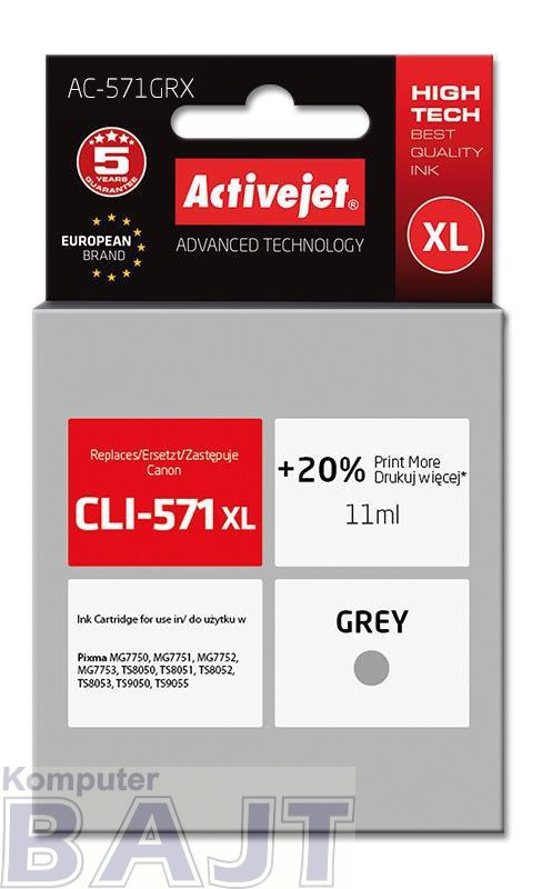 Tusz Activejet AC-571GRX (zamiennik Canon CLI-571XL; Premium; 11 ml; szary)