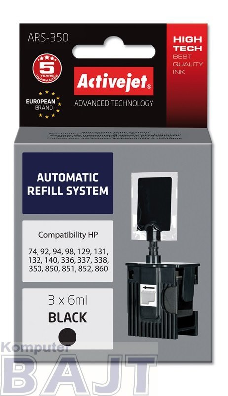 Tusz Activejet ARS-350 (zamiennik ; 3 x 6 ml; czarny)