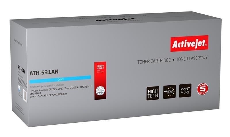 Toner Activejet ATH-531AN (zamiennik HP 304A CC531A, Canon CRG-718C; Premium; 2800 stron; niebieski)