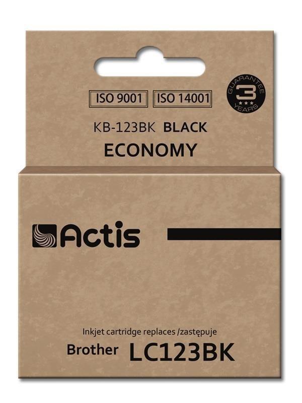 Tusz ACTIS KB-123Bk (zamiennik Brother LC123BK/LC121BK; Standard; 15 ml; czarny)