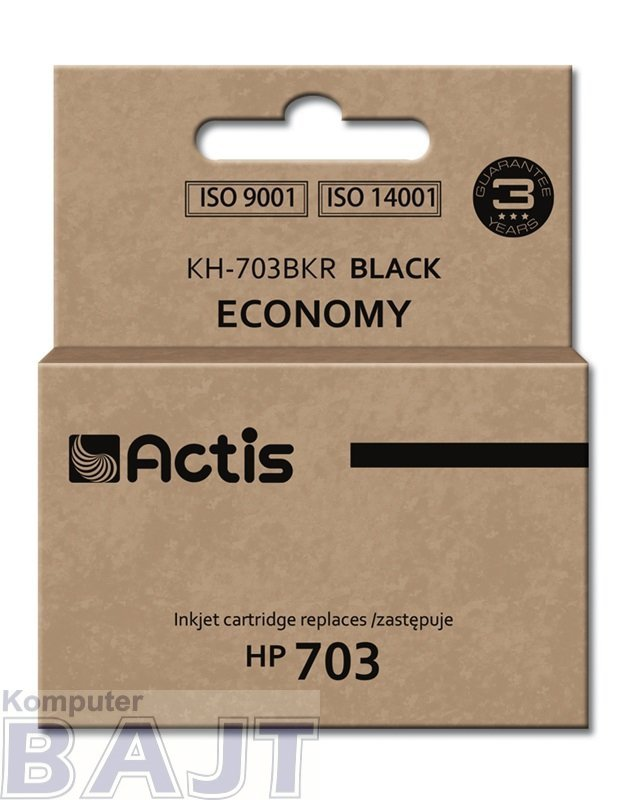 Tusz ACTIS KH-703BKR (zamiennik HP 703 CD887AE; Standard; 15 ml; czarny)
