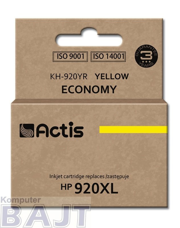 Tusz ACTIS KH-920YR (zamiennik HP 920XL CD974AE; Standard; 12 ml; żółty)