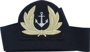 emblemat z otokiem do czapki srebrna kotwica w wieńcu (nr 6)