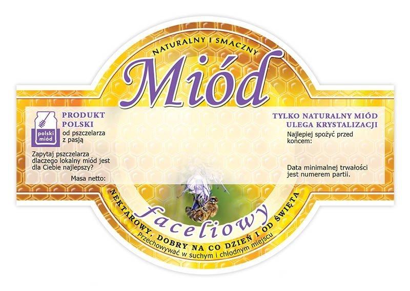 Paczka etykiet okrągłych na miód faceliowy (100szt)