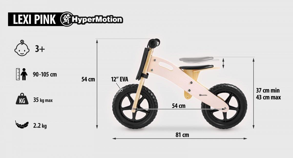 Rowerek biegowy drewniany HyperMotion LEXI - piankowe koła, superlekki - różowy
