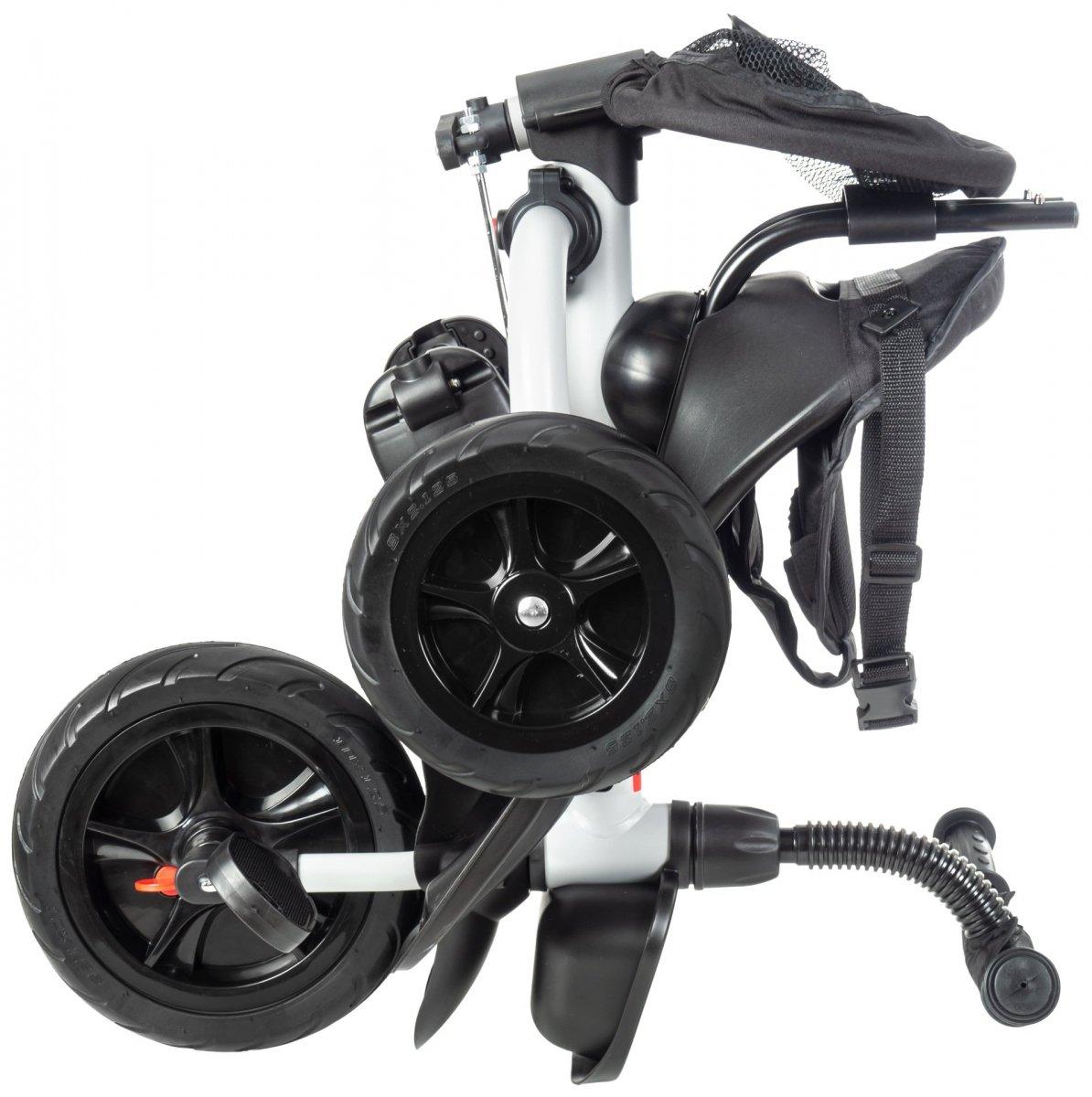 Rowerek trójkołowy HyperMotion TOBI BUZZ - obracany, składany. Kolor: czarno - szary