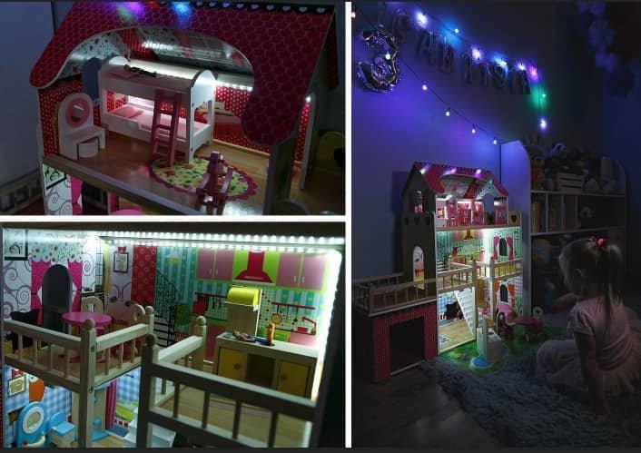Duży Drewniany domek dla lalek z  basenem, garażem, tarasem i oświetleniem LED!