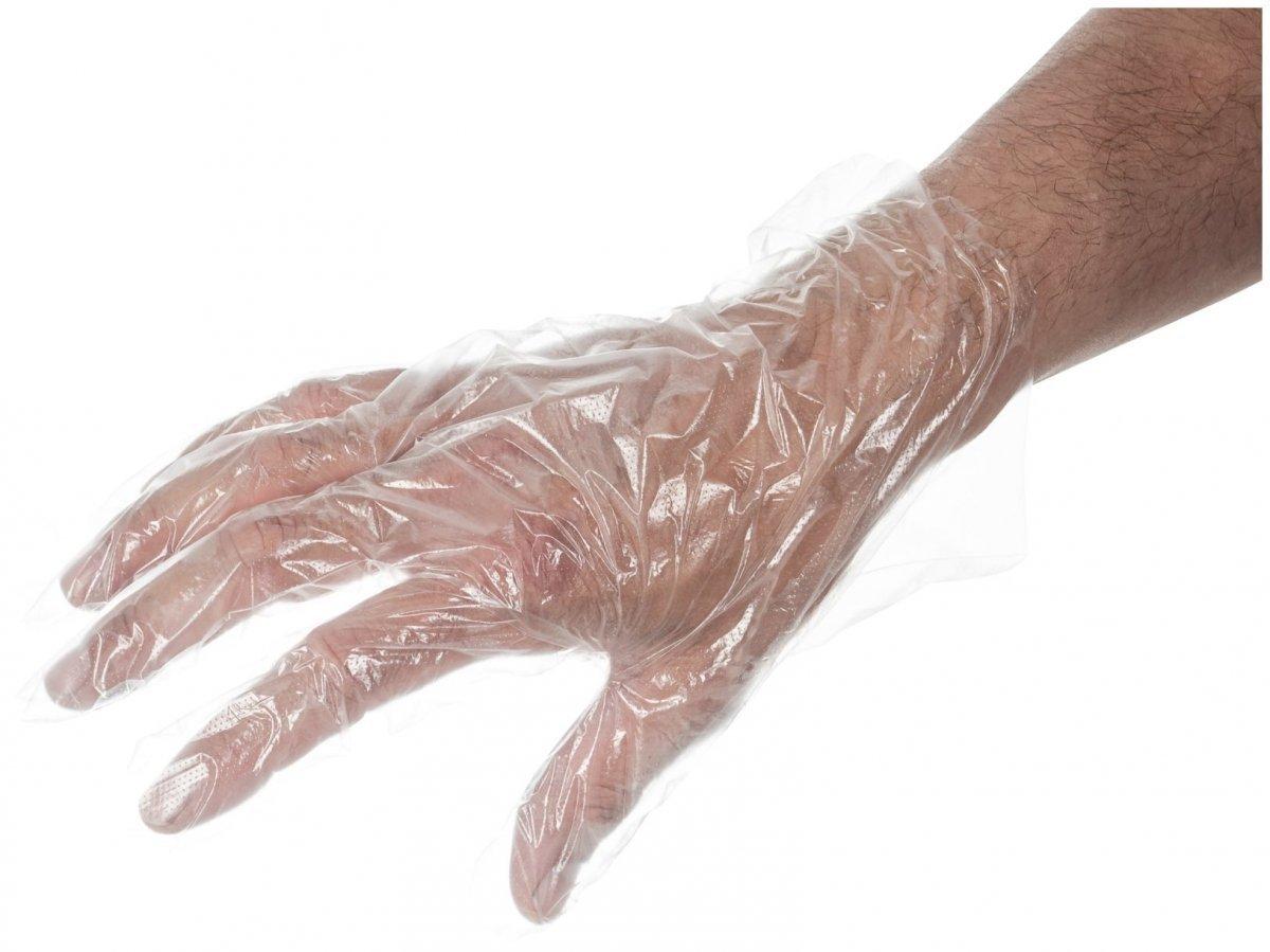 Foliowe rękawiczki jednorazowe HDPE 10μm grube - 100 sztuk