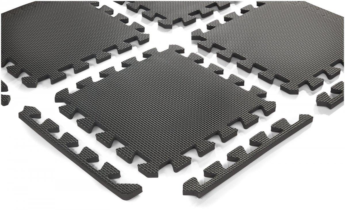 Piankowe puzzle 12szt. - piankowa mata edukacyjna 120 x 90 x 1.2cm z obrzeżem - szara