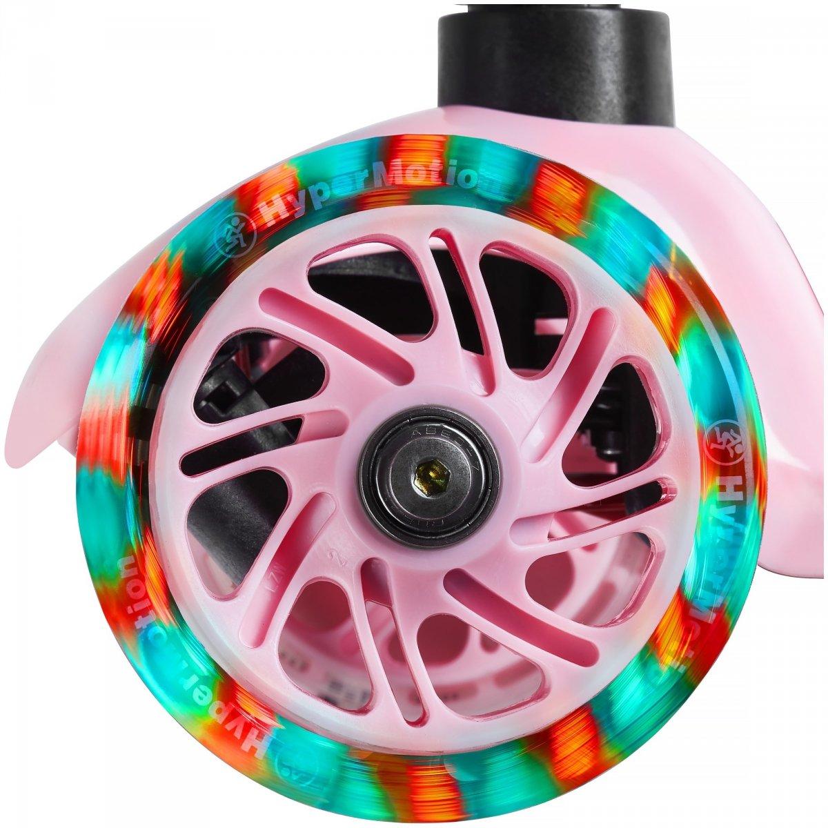 Hulajnoga trójkołowa balansowa DINO 3-5 lat - różowa + koła LED