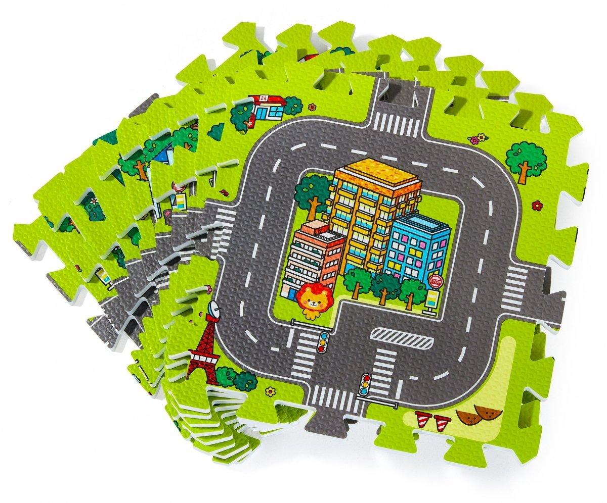 Mata edukacyjna piankowe puzzle 90 x 90 x 1cm - pianka EVA - wzór: miasto drogi ulice