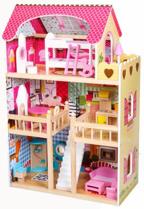 Duży drewniany domek dla lalek z oświetleniem LED! - przedsprzedaż