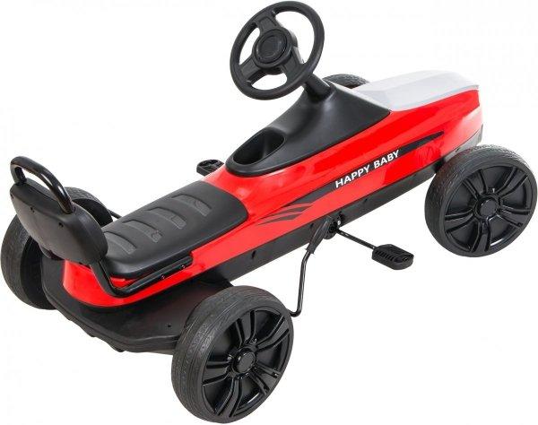 Gokart na pedały RETRO - jeździk dla dzieci 5-12 lat - czerwony