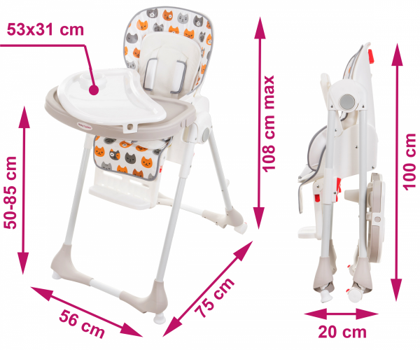 Krzesełko do karmienia DALIA - wzór KOTKI