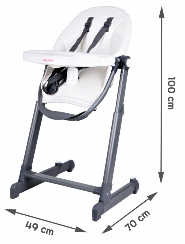Nowoczesne krzesełko do karmienia INES - białe