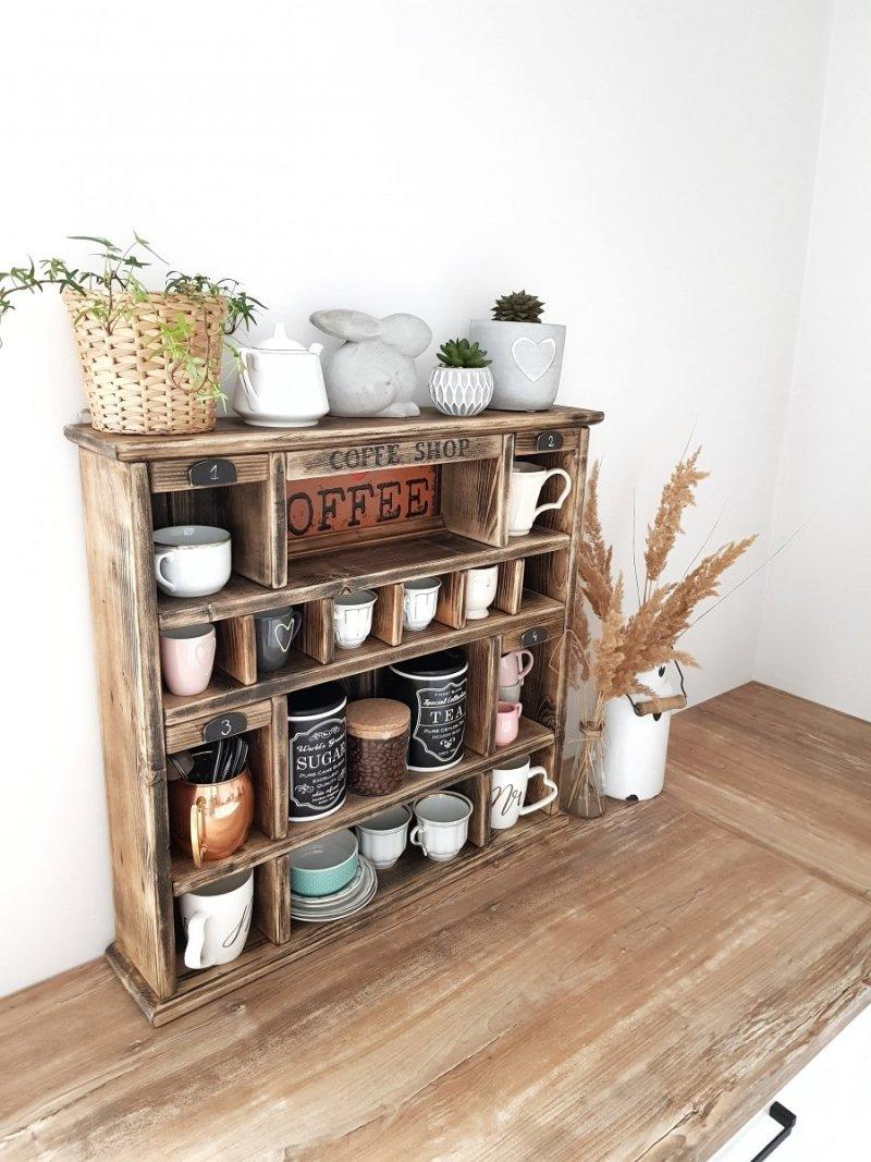 Drewniana półka z przegródkami COFFEE