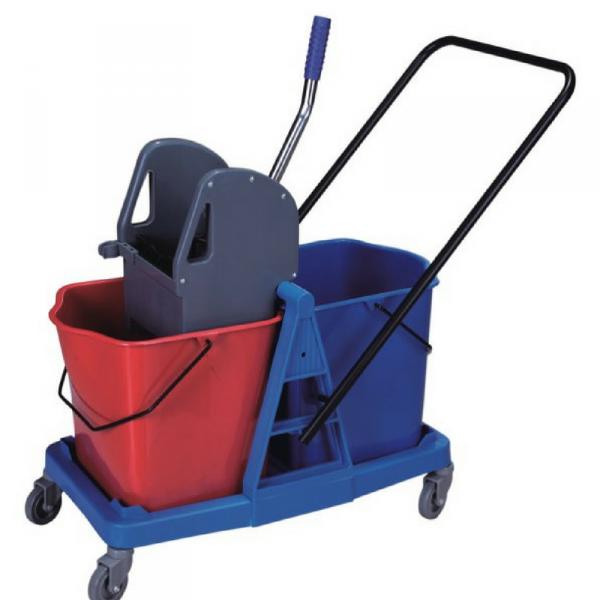 Wózek do sprzątania dwuwiaderkowy 2x25L z tworzywa/plastik