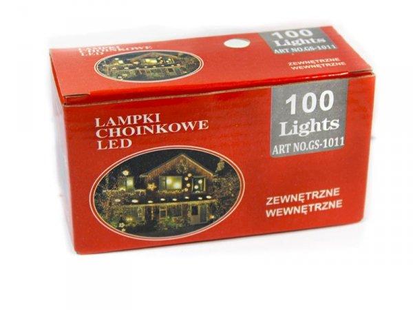 LAMPKI CHOINKOWE 100 LED WEWNĘTRZNE ZEWNĘTRZNE BIAŁY ZIMNY