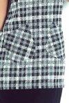 62-3 Sukienka z kieszonkami - drobna kratka szaro-czarna