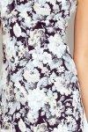 104-3 Sukienka z dekoltem oraz wycięciem na plecach - ECRU gęste kwiaty
