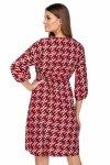 wzorzysta sukienka z gumką w pasie i bufiastymi rękawami