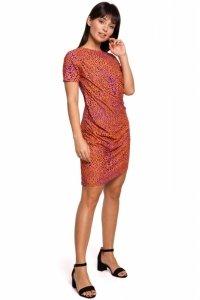 B143 Sukienka z nadrukiem i zakładkami - pomarańczowa