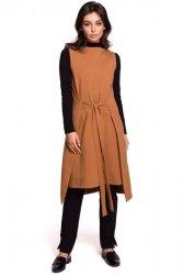 B126 Sukienka tunika bez rękawów - karmelowa