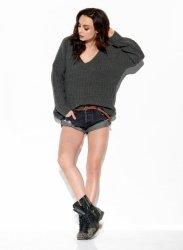 Sweter z dużym dekoltem V LS292 grafit