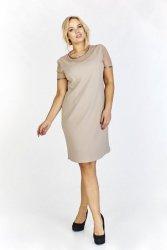 Sukienka z a'la wyciskanej drobno tkaniny z prześwitującymi wstawkami i połyskującym wykończeniem