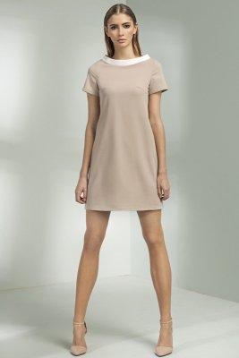 Sukienka trapezowa - beż - S54