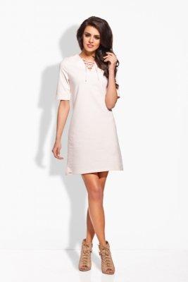 L120 Trapezowa sukienka pudrowy róż