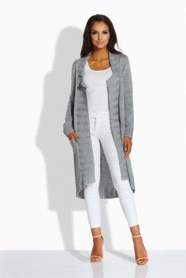 LS186 sweterek płaszczyk jasnoszary