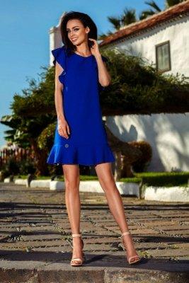 Wizytowa sukienka z falbankami L248 chaber