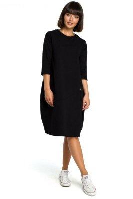 B083 Sukienka bombka z kieszenią czarna