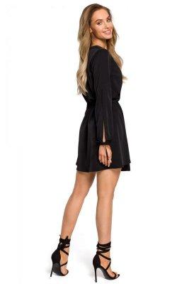 M426 Sukienka z rozciętymi rękawami - czarna