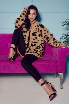 Sweter zwierzęce wzory panterka LS246 kamel