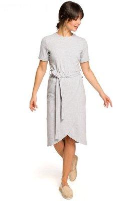 B118 Sukienka z zakładką - szara