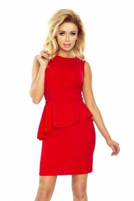 178-1 Asymetryczna sukienka z baskinką - CZERWONA