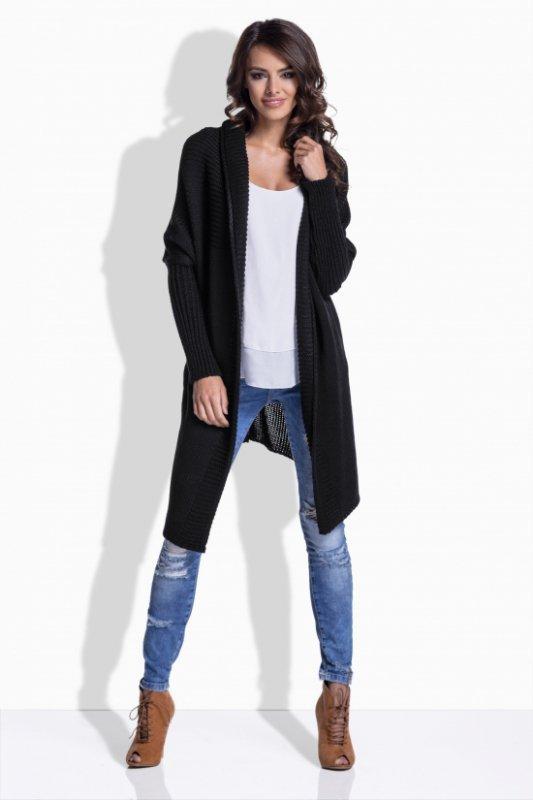 LS174 sweter z fantazyjnym tyłem czarny