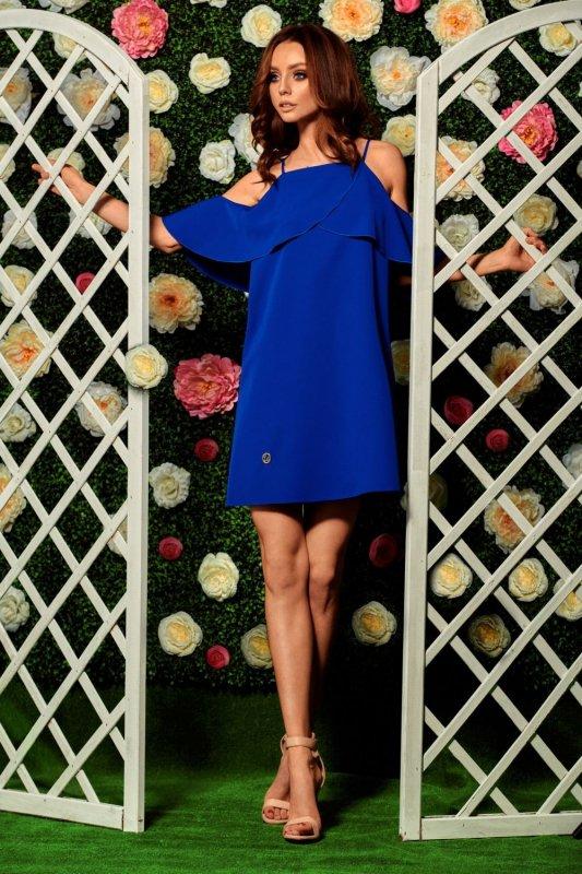 Modna sukienka z odkrytymi ramionami L256 chaber