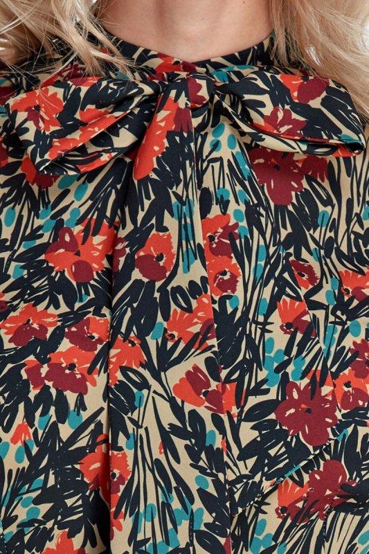 Bluzka z fontaziem - wzór/pomarańcz - CB05